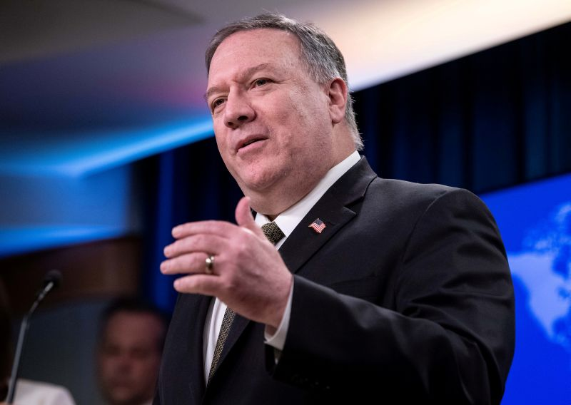 U.S. Secretary of State Mike Pompeo speaks at a press briefing at the State Department in Washington, U.S., April 22, 2020.  Nicholas Kamm/Pool via REUTERS/File Photo