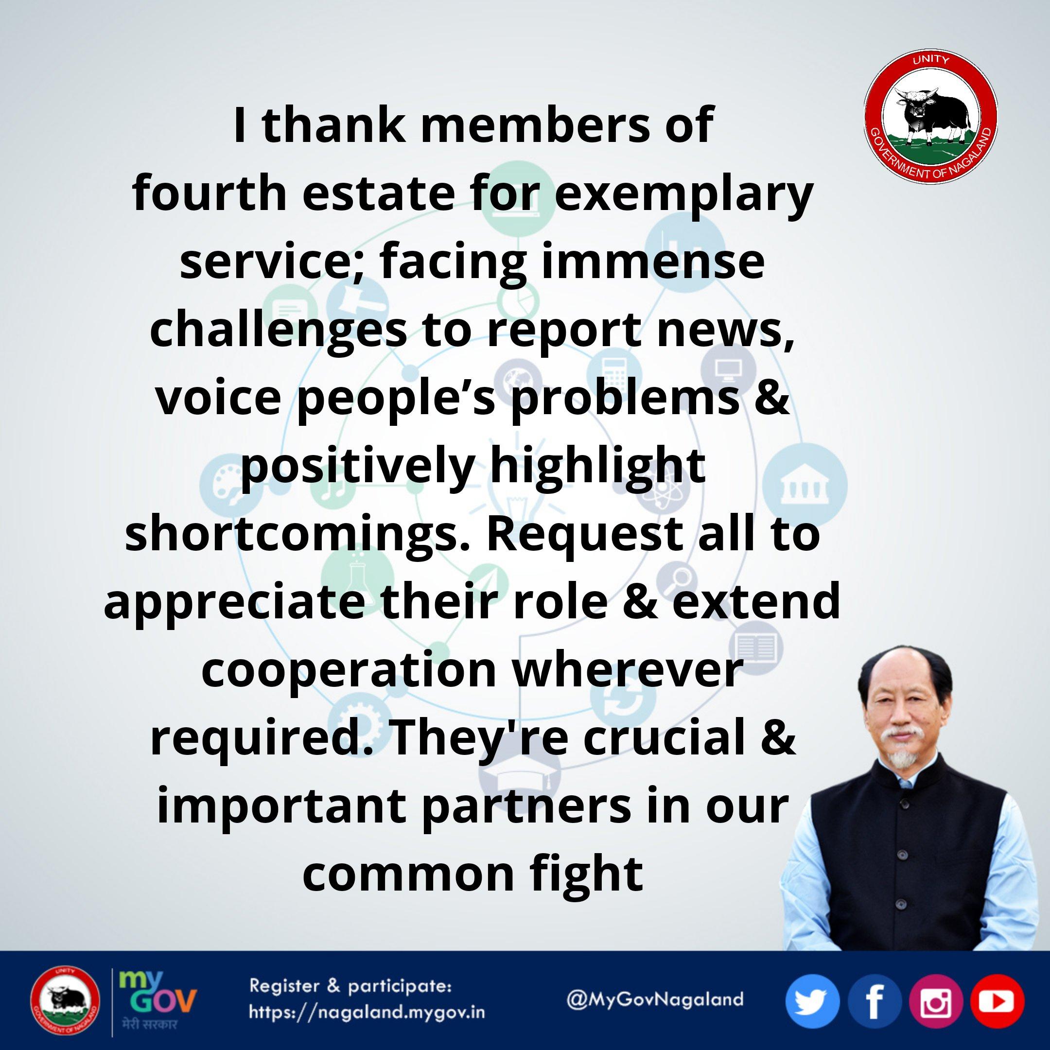 Nagaland CM lauds media's efforts; calls for extending cooperation
