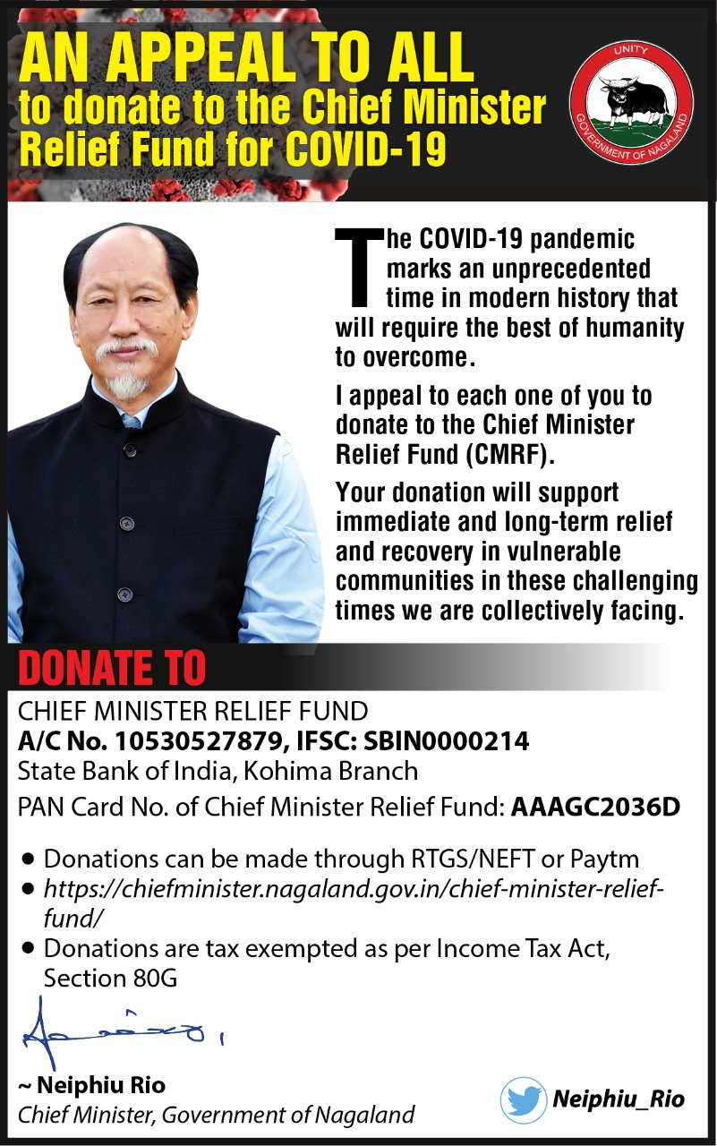 Nagaland CM appeals citizens to donate to Chief Minister Relief Fund