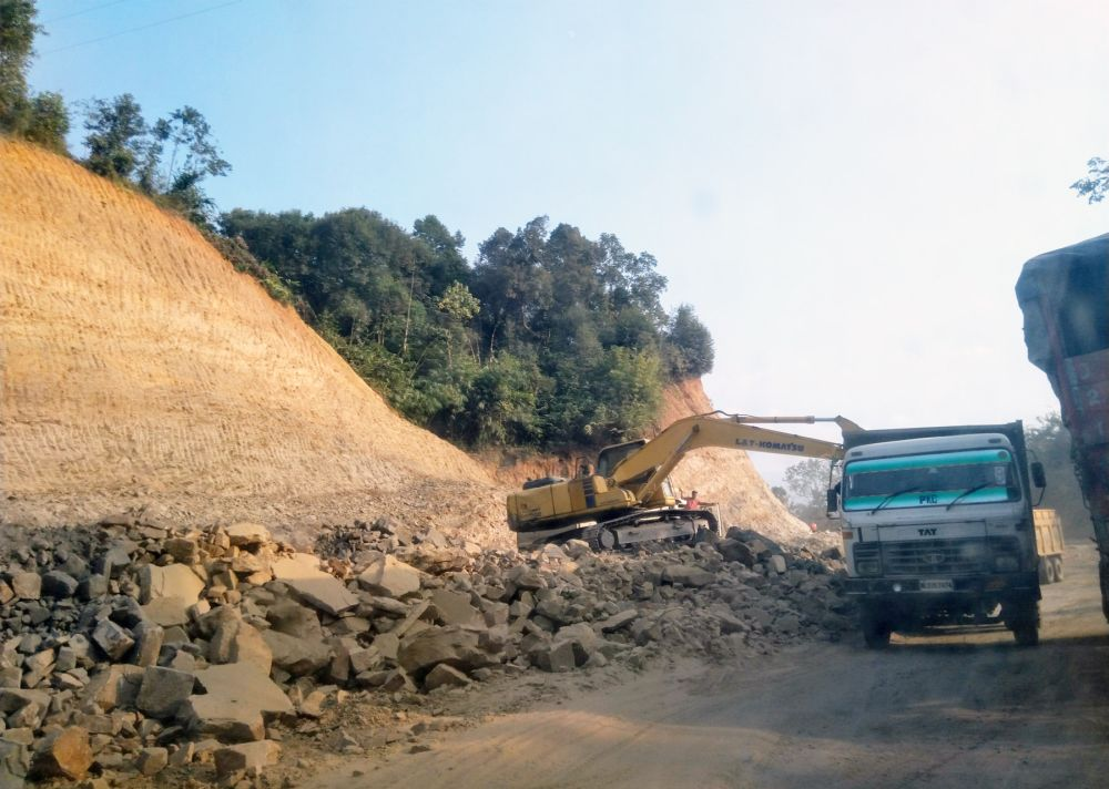 A file photo of construction works going on along the Dimapur-Kohima four lane road project.  Nagaland Governor on Saturday directed the DGP to set up a SIT to probe into rampant extortions by underground elements on CSS road projects. (Morung Photo)