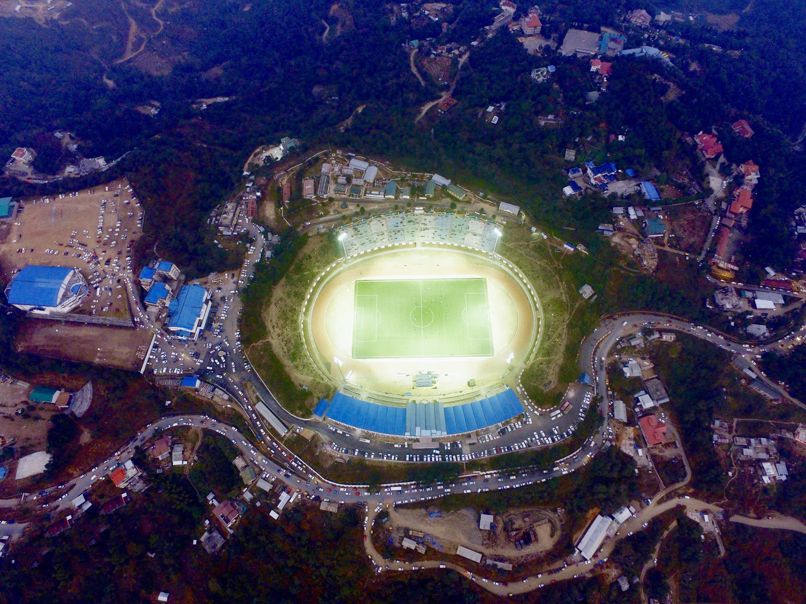 An aerial view of the IG Stadium in Kohima. (Photo Courtesy: GIS Nagaland)