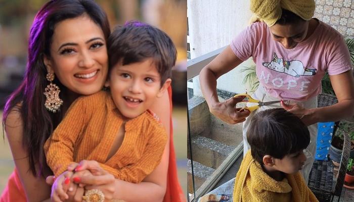 Shweta Tiwari turns 'barber', gives son haircut amid lockdown
