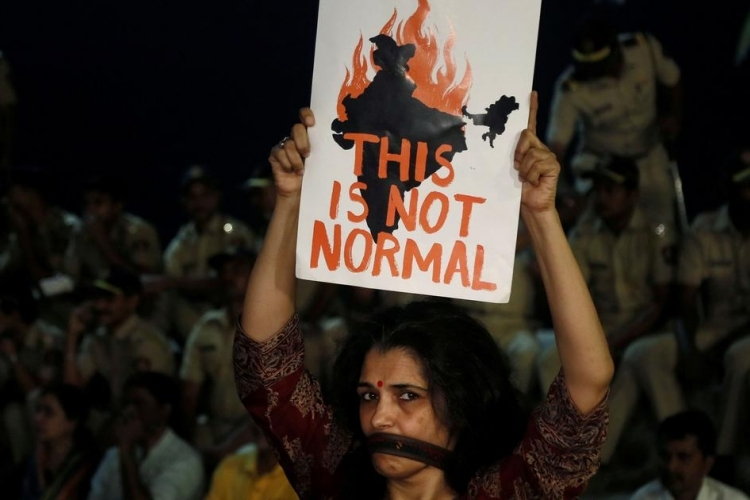 A protest against a new citizenship law in Mumbai on January 8. | Francis Mascarenhas/Reuters
