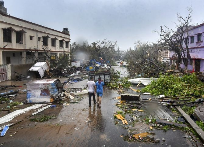 Eight tropical storms hit India during 2019. The most severe was Cyclone Fani, which tracked across the states of Odisha, Andhra Pradesh and West Bengal. Photograph: PTI Photo