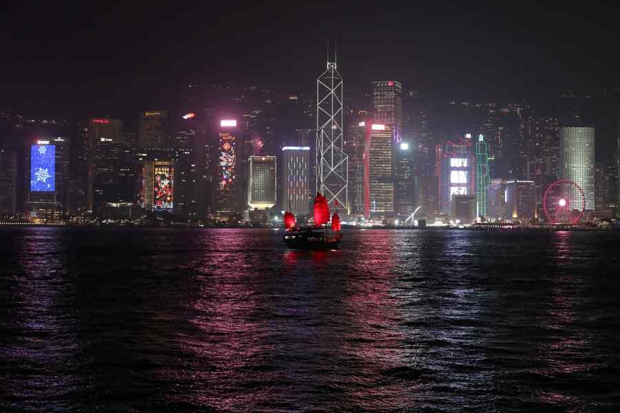 The Hong Kong skyline is lit up on Christmas Eve in Hong Kong, China, December 24, 2019. (REUTERS/File Photo)
