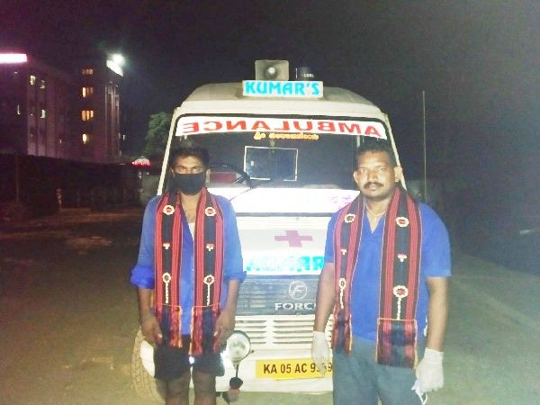 Ambulance drivers of Kumar's Ambulance Service, Bengaluru being acknowledged upon arrival at Dimapur in May 19 night.