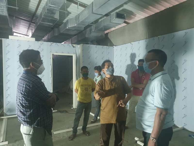 Health and Family Welfare Minister, S Pangnyu Phom and Advisor to IPR, SCERT & VG, Toshi Wungtung inspecting ongoing constructions for the BSL-2 lab at Christian Institute Of Health Sciences & Research (CIHSR), 4th Mile, Dimapur on May 23. (Photo Courtesy: @pangnyu / Twitter)