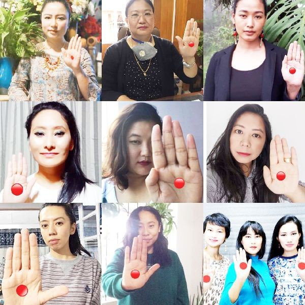 Women in Nagaland raising awareness on menstrual health via social media (#reddotchallenge in Instagram)