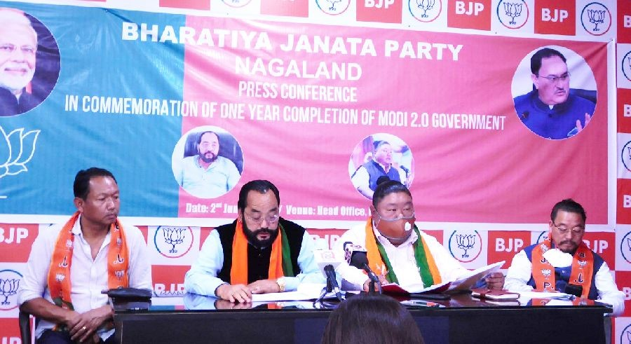 Deputy Chief Minister Y Patton, Minister Temjen Imna Along and others during commemoration of one year completion of Modi 2.0 Government by Bharatiya Janata Party Nagaland on June 2. (Morung Photo)