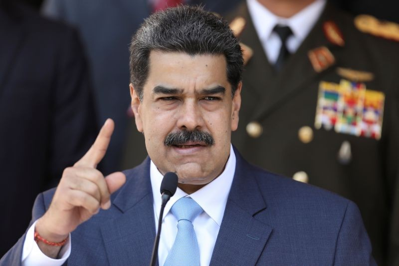Venezuela's President Nicolas Maduro speaks during a news conference at Miraflores Palace in Caracas, Venezuela on March 12, 2020. (REUTERS File Photo)