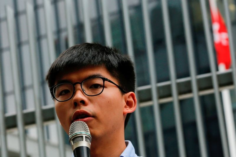 Pro-democracy activist Joshua Wong speaks to journalists after being disqualified from running in the local district's council elections in November, in Hong Kong, China on October 29, 2019. (REUTERS File Photo)