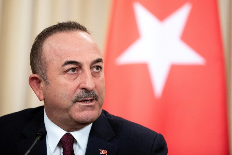 Turkish Foreign Minister Mevlut Cavusoglu speaks during a joint news conference following talks with Russian Foreign Minister Sergei Lavrov in Moscow, Russia on January 13, 2020. (REUTERS File Photo)