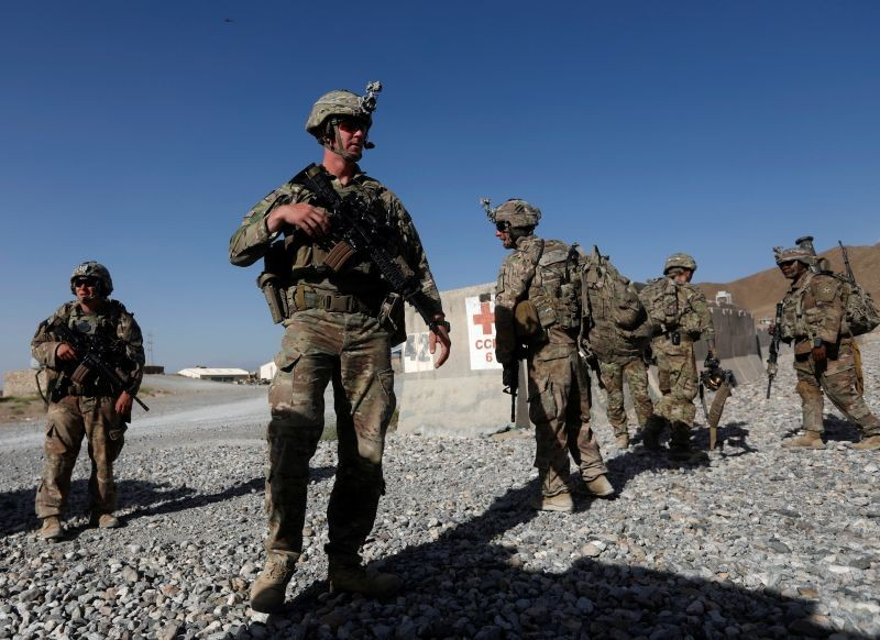 U.S. troops wait for their helicopter flight at an Afghan National Army (ANA) base in Logar province, Afghanistan on August 7, 2018. (REUTERS File Photo)