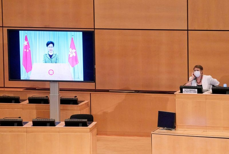 Carrie Lam, chief executive of Hong Kong, addresses by video link the 44th session of the Human Rights Council at the European headquarters of the United Nations in Geneva, Switzerland on June 30, 2020. (REUTERS Photo)