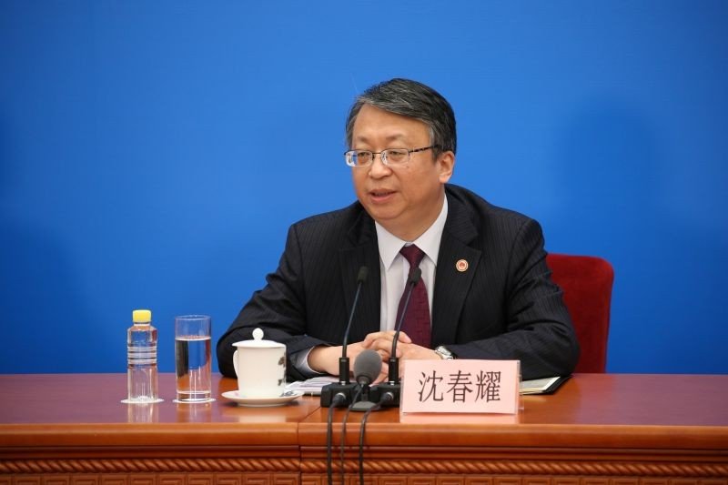 Shen Chunyao, chairman of the Legislative Affairs Commission, speaks at a news conference at the Great Hall of the People in Beijing, China on March 11, 2018. (REUTERS File Photo)
