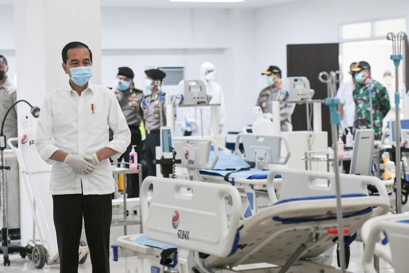 Indonesia's President Joko Widodo takes a look at the emergency hospital handling of COVID-19 in  Kemayoran Athletes Village, to prevent the spread of coronavirus disease (COVID-19) in Jakarta, Indonesia on March 23, (REUTERS File Photo)
