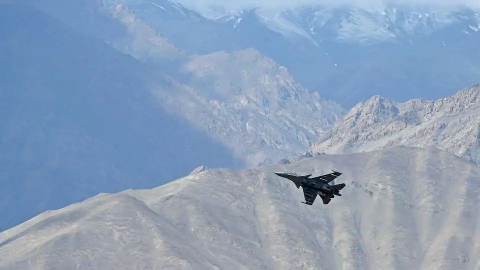 India-China border dispute: A fully loaded MiG 29 fighter during a combat air patrol of Ladakh skies(AFP)