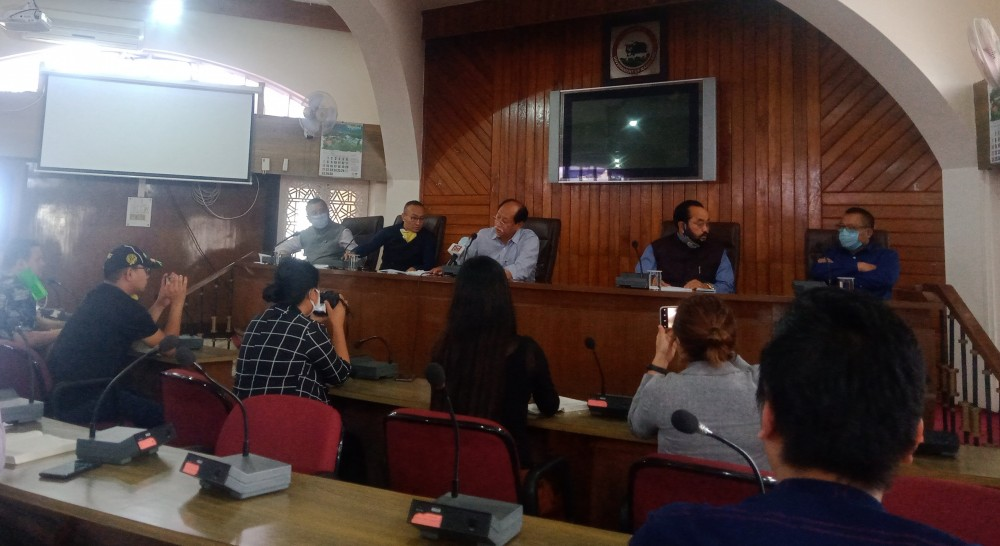 Nagaland CM Neiphiu Rio and others addressing a press conference in Kohima on June 15. (Morung Photo)
