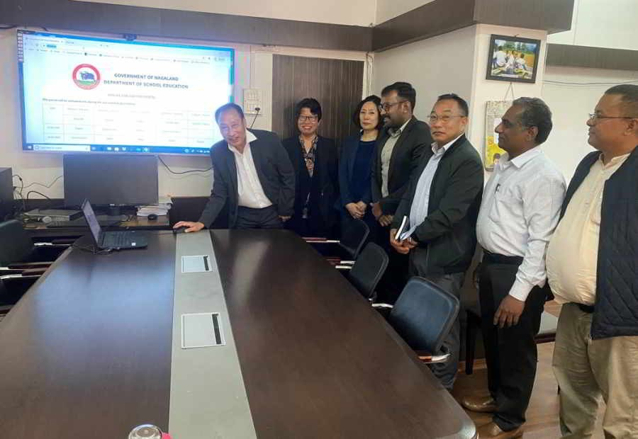 Principal Secretary, School Education, Menukhol John launching the online Student Evaluation Portal of Department of School Education at his office chamber on June 2. (DIPR Photo)