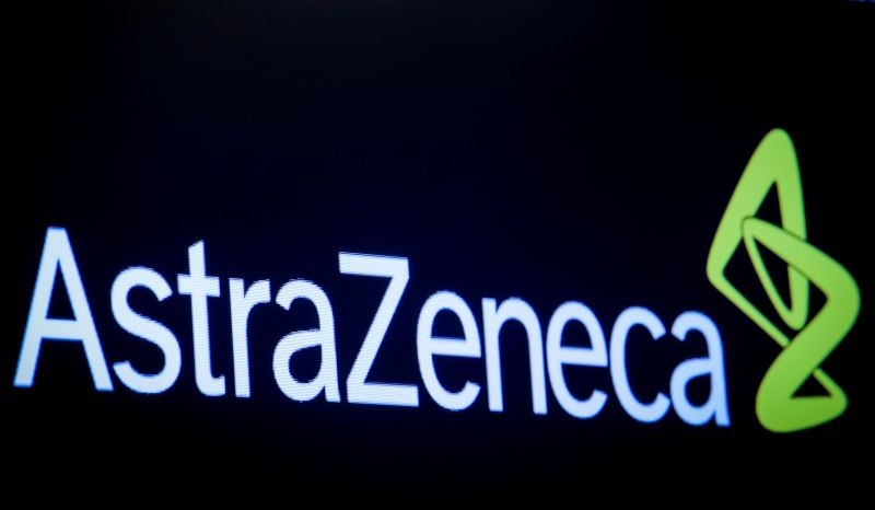 The logo for pharmaceutical company AstraZeneca at the New York Stock Exchange in New York, US on April 8, 2019. (REUTERS File Photo)