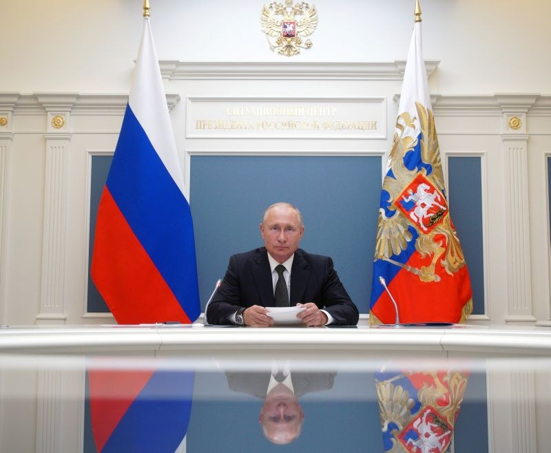 Russian President Vladimir Putin takes part in a video conference call, dedicated to the opening of new military medical centres for patients infected with the coronavirus disease (COVID-19), in Moscow, Russia June 30, 2020. Sputnik/Alexei Babushkin/Kremlin via REUTERS