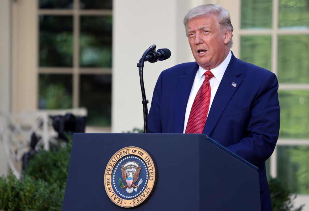U.S. President Donald Trump speaks during a news conference in the Rose Garden at the White House in Washington, U.S., July 14, 2020. REUTERS/Jonathan Ernst