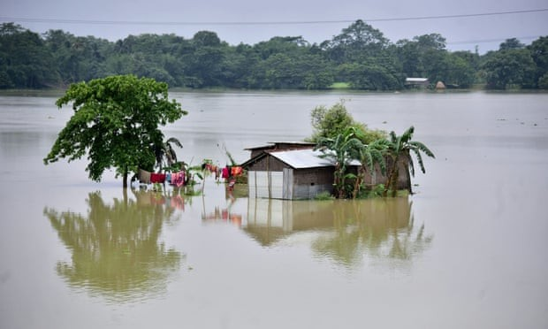 A partially submerged house is seen at the flood-affected Mayong village in Morigaon district, in the northeastern state of Assam, India on 29 June.  (Reuters/Anuwar Hazarika Photo)