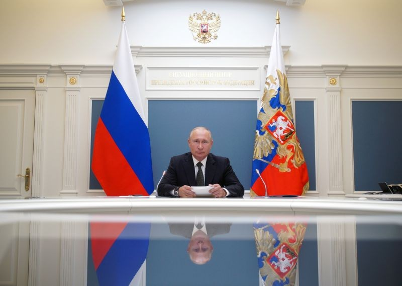 Russian President Vladimir Putin takes part in a video conference call, dedicated to the opening of new military medical centres for patients infected with the coronavirus disease (COVID-19), in Moscow, Russia on June 30, 2020. (REUTERS Photo)