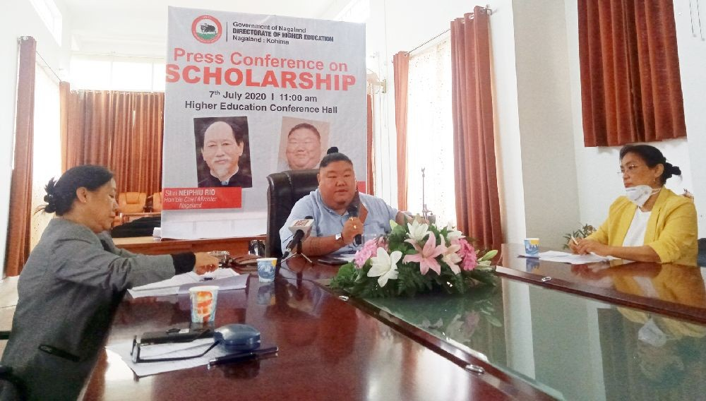 Minister Temjen Imna Along and others during the press conference held in Kohima on July 7. (Morung Photo)