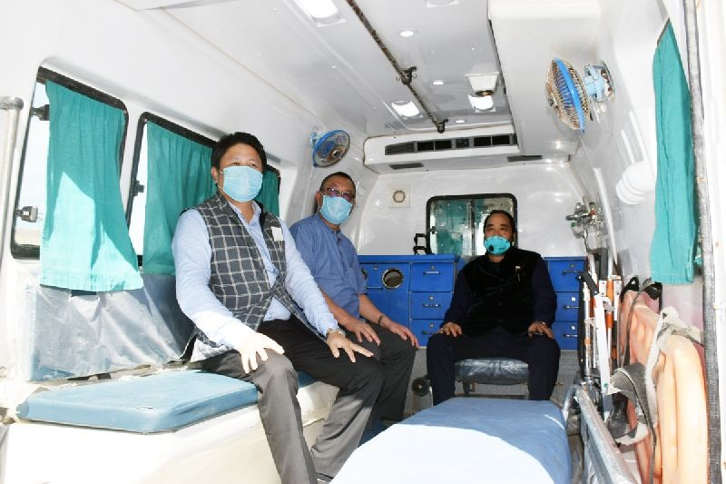 Nagaland Deputy Chief Minister Y Patton, along with Health and Family Welfare Minister S Pangnyu Phom and PHED Minister Jacob Zhimomi being transported by an ambulance to the institutional Quarantine Centre after arriving from Delhi on July 16. (DIPR Photo)