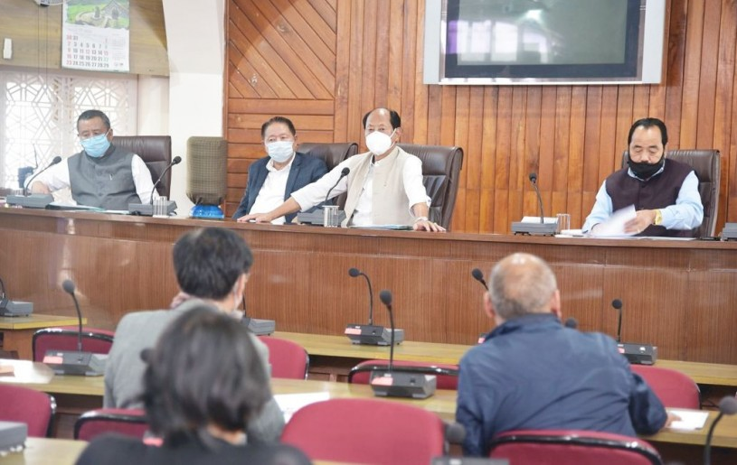Chief Minister Neiphiu Rio chairing the State level meeting on monsoon preparedness in the Secretariat Conference Hall on July 4. (DIPR Photo)
