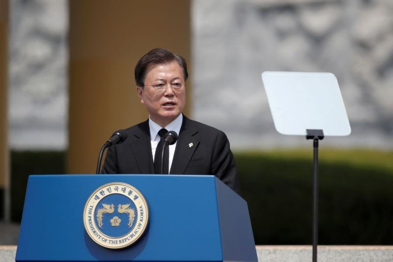 South Korean President Moon Jae-in speaks during a Memorial Day ceremony at the national cemetery in Daejeon, South Korea on  June 6, 2020. (REUTERS File Photo)