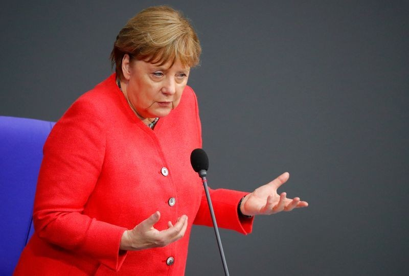 German Chancellor Angela Merkel speaks during a session of the lower house of parliament Bundestag, in Berlin, Germany on July 1, 2020. (REUTERS Photo)