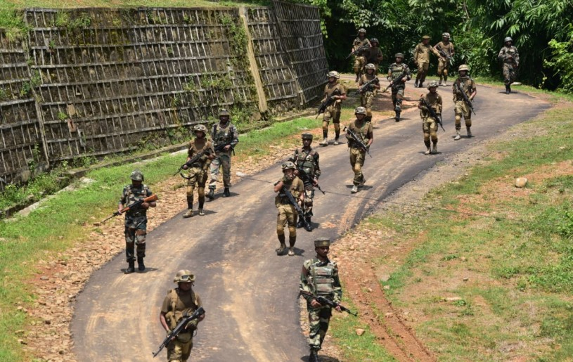 Assam Rifles and Nagaland Police- Special Task Force personnel during a joint security drill in Dimapur, on August 27, 2019. (Image Representational Purposes Only: PRO Defence, Kohima/Morung File Photo)