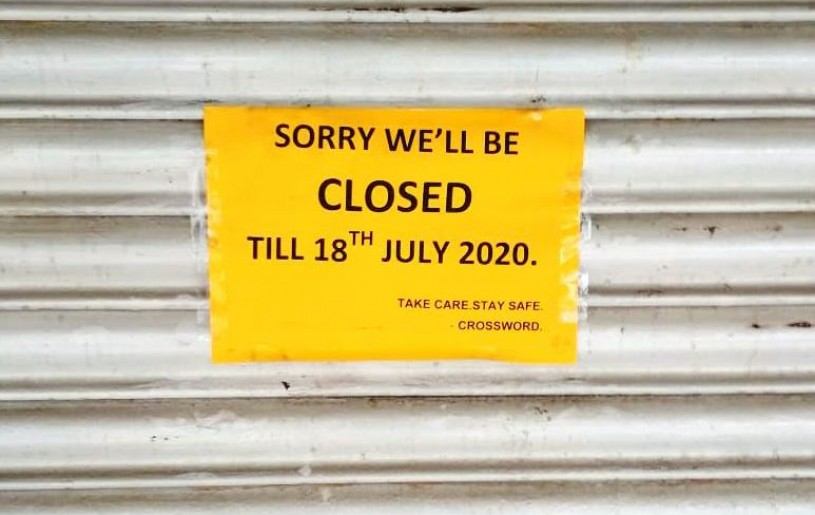 A closure notice put up at CROSSWORD Kohima. (Morung Photo)