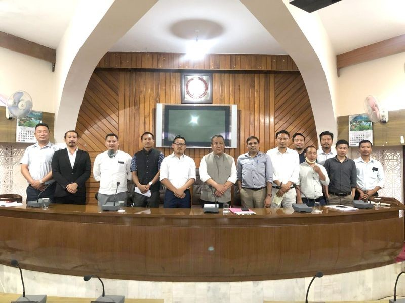 State Chief SecretaryTemjen Toy with NSF and ENSF officials during the meeting held in the Secretariat Conference Hall on July 1 in connection with Nagaland Staff Selection Board (NSSB). (File Photo)