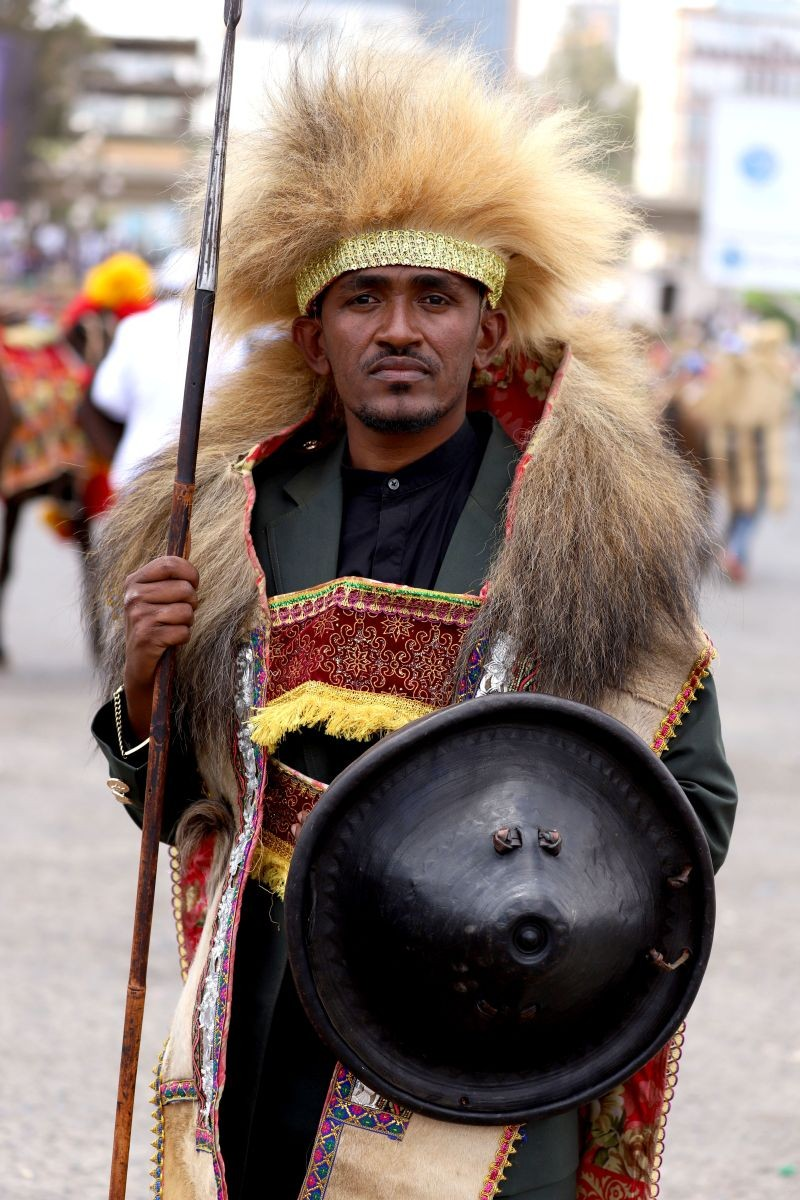 Ethiopian musician Haacaaluu Hundeessaa poses while dressed in a traditional costume during the 123rd anniversary celebration of the battle of Adwa, where Ethiopian forces defeated invading Italian forces, in Addis Ababa, Ethiopia on March 2, 2019. (REUTERS File Photo)