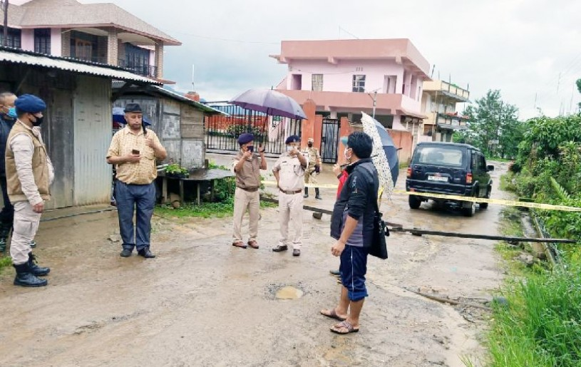 Police personnel sealing off an area at Jotsoma village after a person residing in the village tested positive for COVID-19.