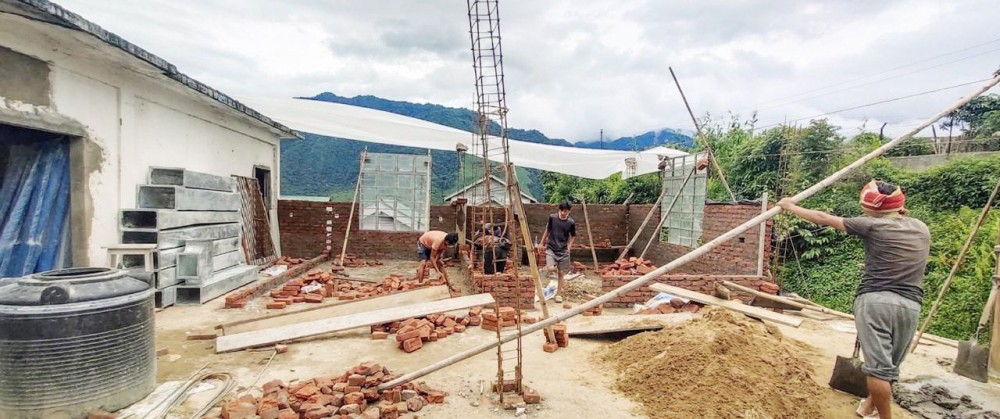 Work in progress at the BSL-2 installation site in Tuensang. (Morung Photo)