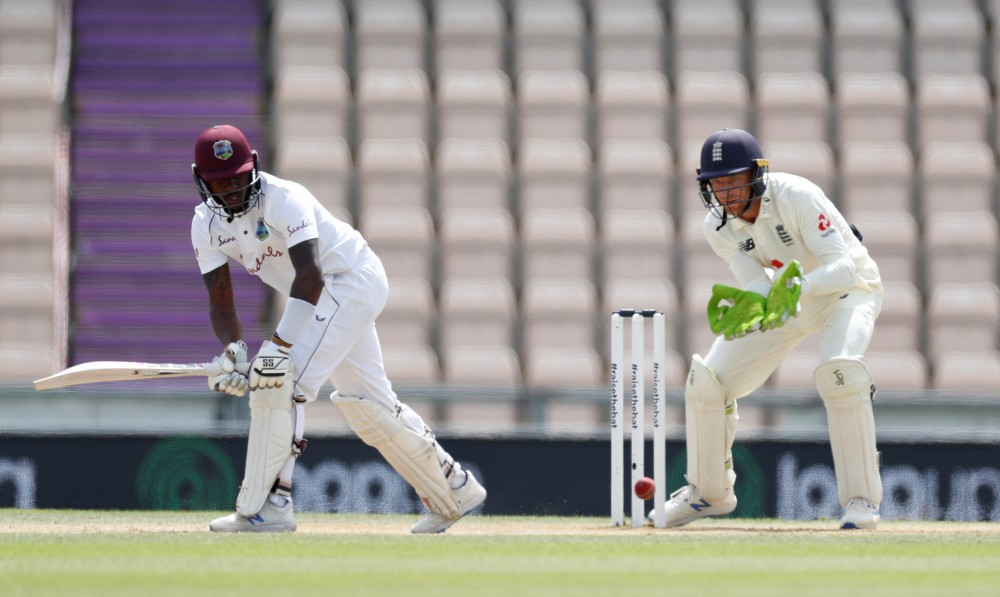 Cricket - First Test - England v West Indies - Rose Bowl Cricket Stadium, Southampton, Britain - July 12, 2020   West Indies' Jermaine Blackwood in action, as play resumes behind closed doors following the outbreak of the coronavirus disease (COVID-19).   (Adrian Dennis/Pool via REUTERS)