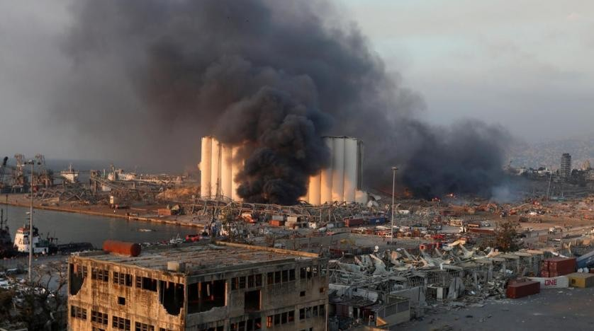 Smoke rises from the site of an explosion in Beirut's port area, Lebanon August 4, 2020. (Reuters)