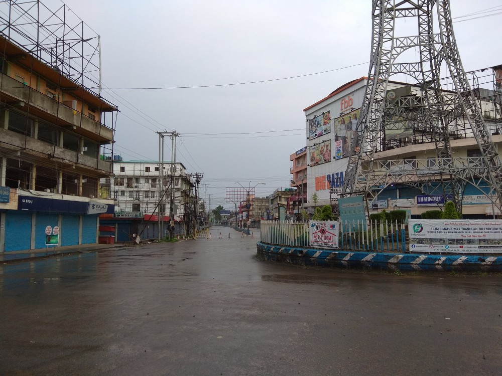 The busy City Clock Tower Junction wears a completely deserted during the ongoing 8-day total lockdown in Dimapur beginning July 26. The district administration has decided to change the total lockdown to partial from August 3.  (Morung File Photo)
