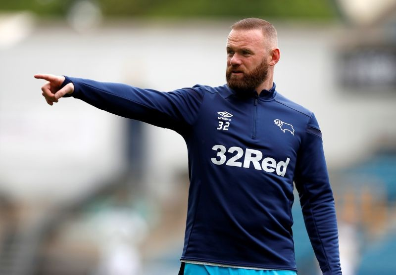 FILE PHOTO: Derby's Wayne Rooney during the warm up before the match, as play resumes behind closed doors following the outbreak of the coronavirus disease (COVID-19) Action Images/Paul Childs/File photo