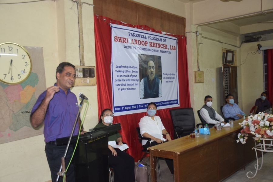 Outgoing DC Dimapur Anoop Khinchi speaking during the farewell programme organised in his honour by the district administration on August 5. ( DIPR Photo)