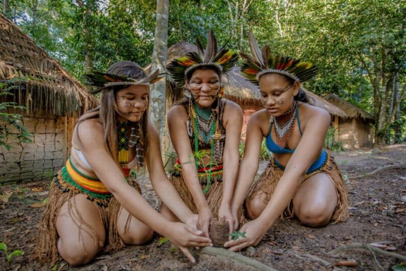 Indigenous women from the Jaqueira village in northeastern Brazil perform the annual ritual Aragwaksa on August 1, 2020. Handout photos from Nitynawa Pataxo.