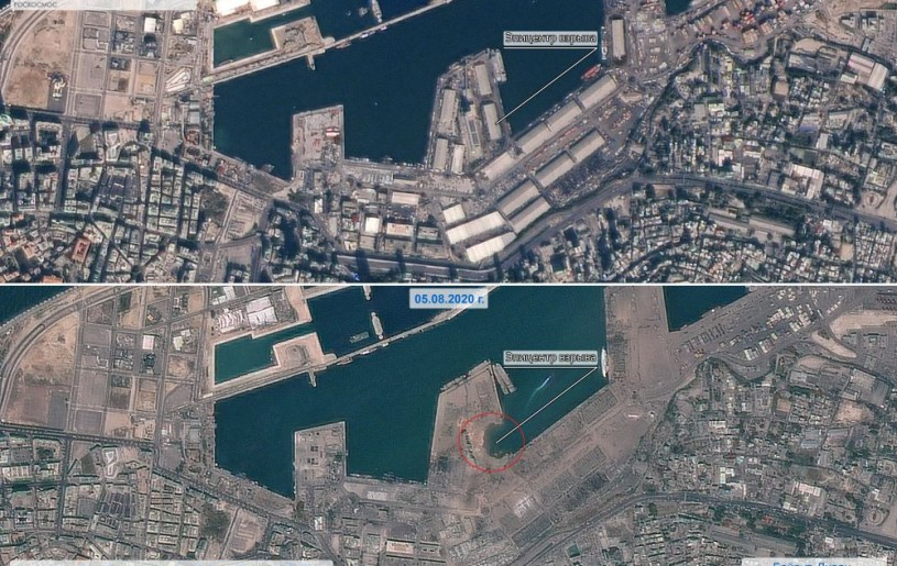 A combination of satellite images shows the area, which was heavily damaged by a massive explosion and a blast wave, on August 5, 2020 and the same area on November 4, 2019 in Beirut, Lebanon. Russian space agency Roscosmos/Handout via REUTERS