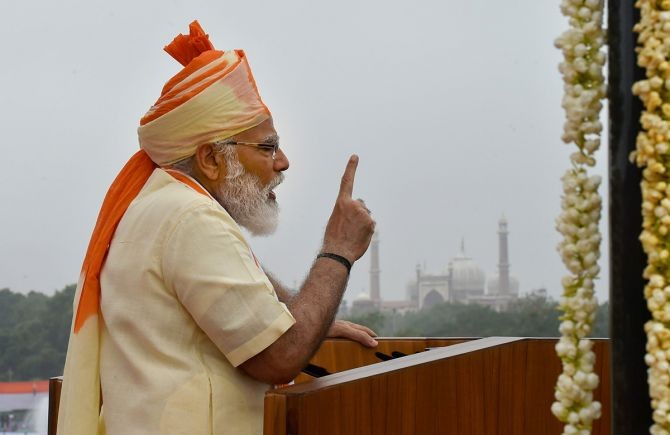 Prime Minister Narendra Modi addresses the nation during the 74th Independence Day celebrations, at Red Fort in New Delhi. Photograph: Manvender Vashist/PTI Photo