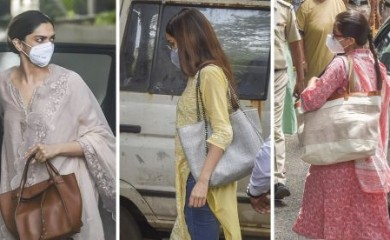 Actresses Deepika Padukone, Shraddha Kapoor and Sara Ali Khan at the NCB office for questioning in a drug probe related to late actor Sushant Singh Rajput's death, in Mumbai, on Saturday. Photograph: PTI Photo