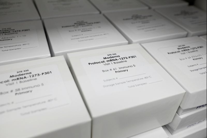 FILE PHOTO: Trial kits for Moderna Therapeutics coronavirus disease (COVID-19) vaccination study are seen at the Research Centers of America, in Hollywood, Florida, U.S., September 24, 2020. REUTERS/Marco Bello