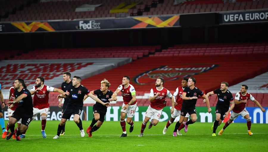 Soccer Football - Europa League - Group B - Arsenal v Dundalk - Emirates Stadium, London, Britain- October 29, 2020 General view of the action REUTERS/Dylan Martinez